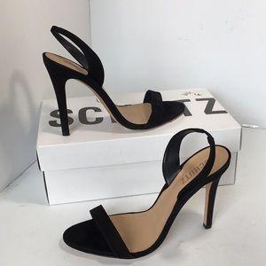 Schutz Luriane  Black Nubuck Heels Sandals